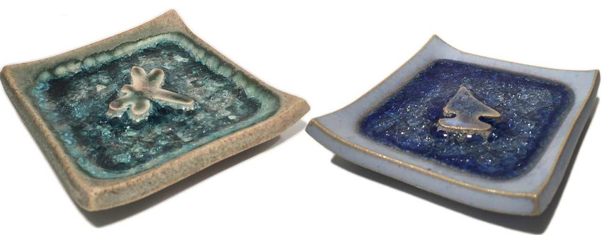 Stunning Soap Dish in Ocean Blues and Fall Colors