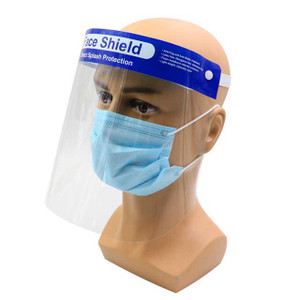 Face Shield Splash Shield One Size Fits Most Full Length Anti-fog Disposable NonSterile Clear Shield / Blue Headband