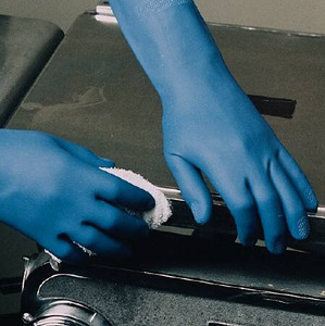 Case/48 - Utility Glove Small Latex / Nitrile Blue 13 Inch Straight Cuff NonSterile