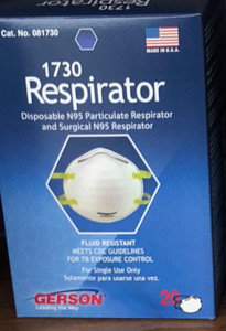 Case/200 Gerson 1730 Disposable N95 Particulate & Surgical Respirator