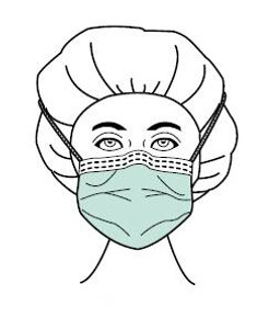 Box/50 Surgical Mask Comfort-Cool™ Pleated Tie Closure One Size Fits Most Blue NonSterile