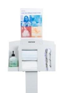 Hygiene Dispensing Station McKesson Quartz Beige Aluminum / Cold Rolled Steel / PETG Plastic Manual Floor Stand