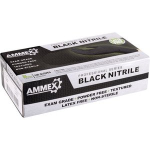 Case/1000 AMMEX Medical Black Nitrile Gloves, Box of 100, 4 mil Size Medium, Latex Free, Powder Free, Textured, Disposable, Non-Sterile,
