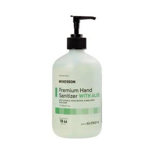 Case/12 Hand Sanitizer with Aloe McKesson Premium 18 oz. Ethyl Alcohol Gel Pump Bottle