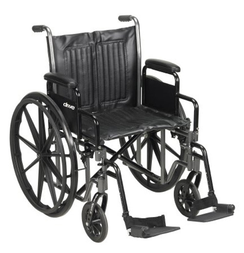 McKesson Standard 20-inch Wheelchair with Swing away Footrests and Detachable Desk Arms