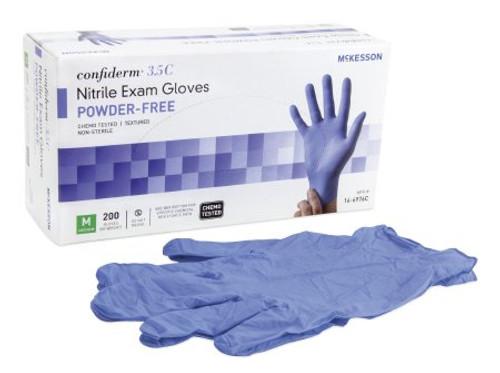 Exam Glove 3.5C Medium NonSterile Nitrile Standard Cuff Length Textured Fingertips Blue Chemo Tested GLOVE EXAM NITRL 3.5C PF BLU MED (100/BX)