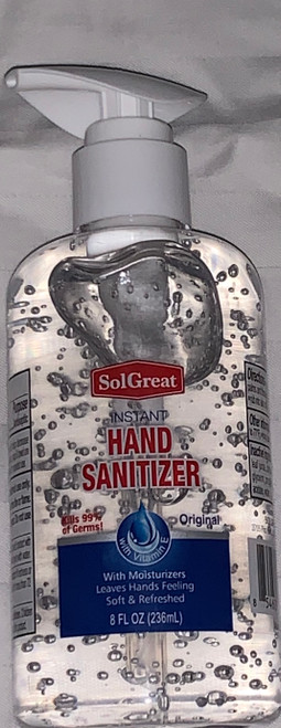 500/BOX Sol Great Instant Hand Sanitizer 8 Oz.