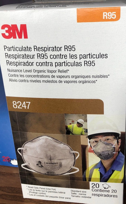 Box/20 3M™ Particulate Respirator 8247, R95, with Nuisance Level Organic Vapor Relief