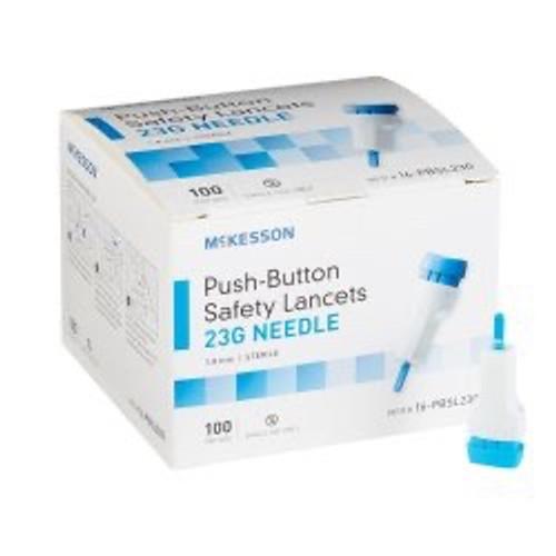 Case/2000 Lancet McKesson Fixed Depth Lancet Needle 1.8 mm Depth  23 Gauge Push Button Activated.