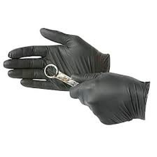 Uline Black Industrial Nitrile Gloves - Powder-Free, 4 Mil, Medium 100/carton