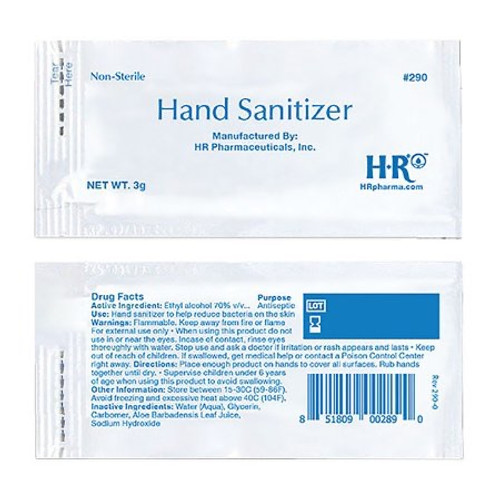 Case/1728 Hand Sanitizer HR® 3 Gram Ethyl Alcohol Gel Individual Packet