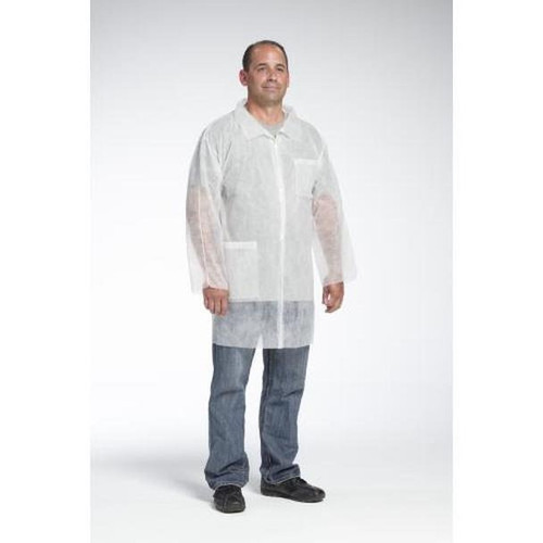 Case/30 SBP White Lab Coat, Chest and Hip Pocket - Standard Weigh