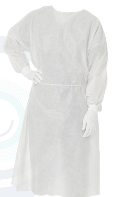 Box/100 Level 1 Isolation Gowns SMMS 25GSM WHITE 535 ANTISTATIC FABRIC