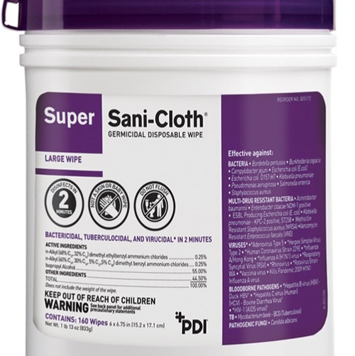 Case/12 Super Sani Cloth Germicidal Wipes 160/ct