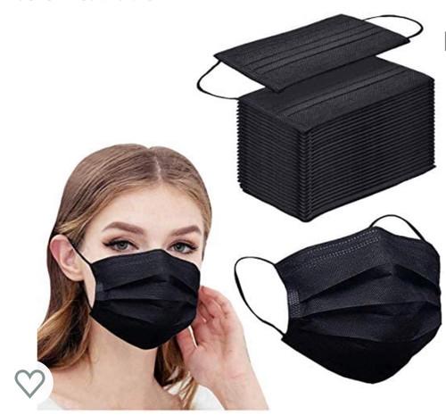 Box/100 Premium Black 3Ply FaceMasks