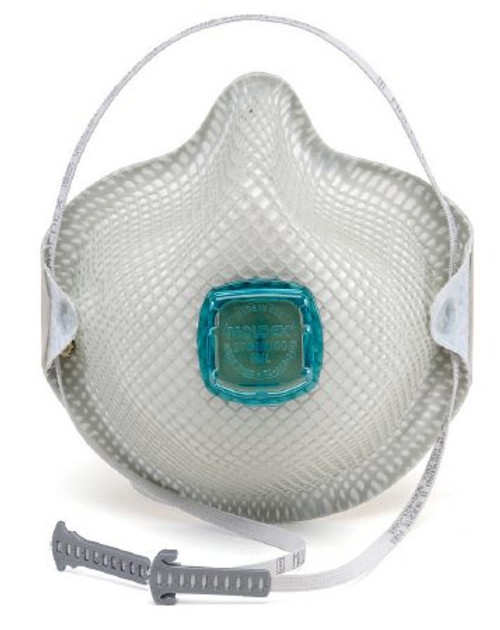 Case/30 Particulate Respirator Mask Moldex® Industrial N100 with Valve Cup Elastic Strap Medium / Large White NonSterile Not Rated Adult