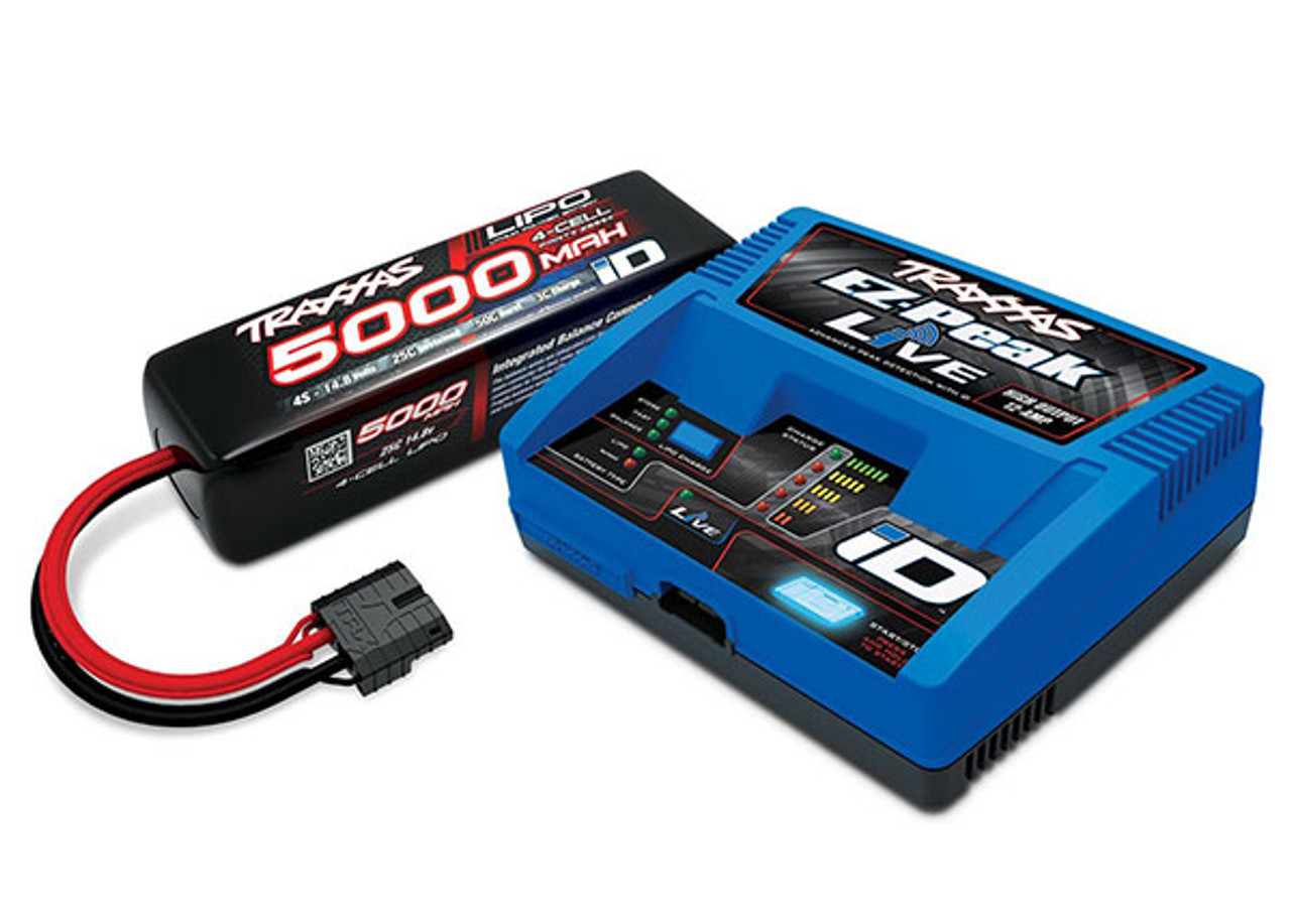 2996X - Battery/charger completer pack (includes #2971 iD charger (1), #2889X 5000mAh 14.8V 4-cell 25C LiPo battery (1))