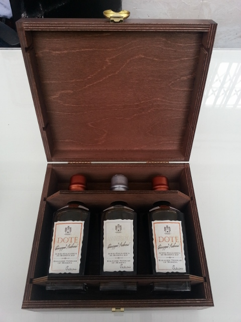 Balsamic vinegar PGI gift set in a wooden presentation box. UK Only