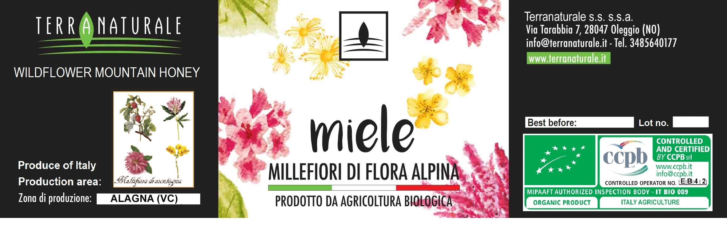 Organic Millefiori Flora Alpina Honey 250g