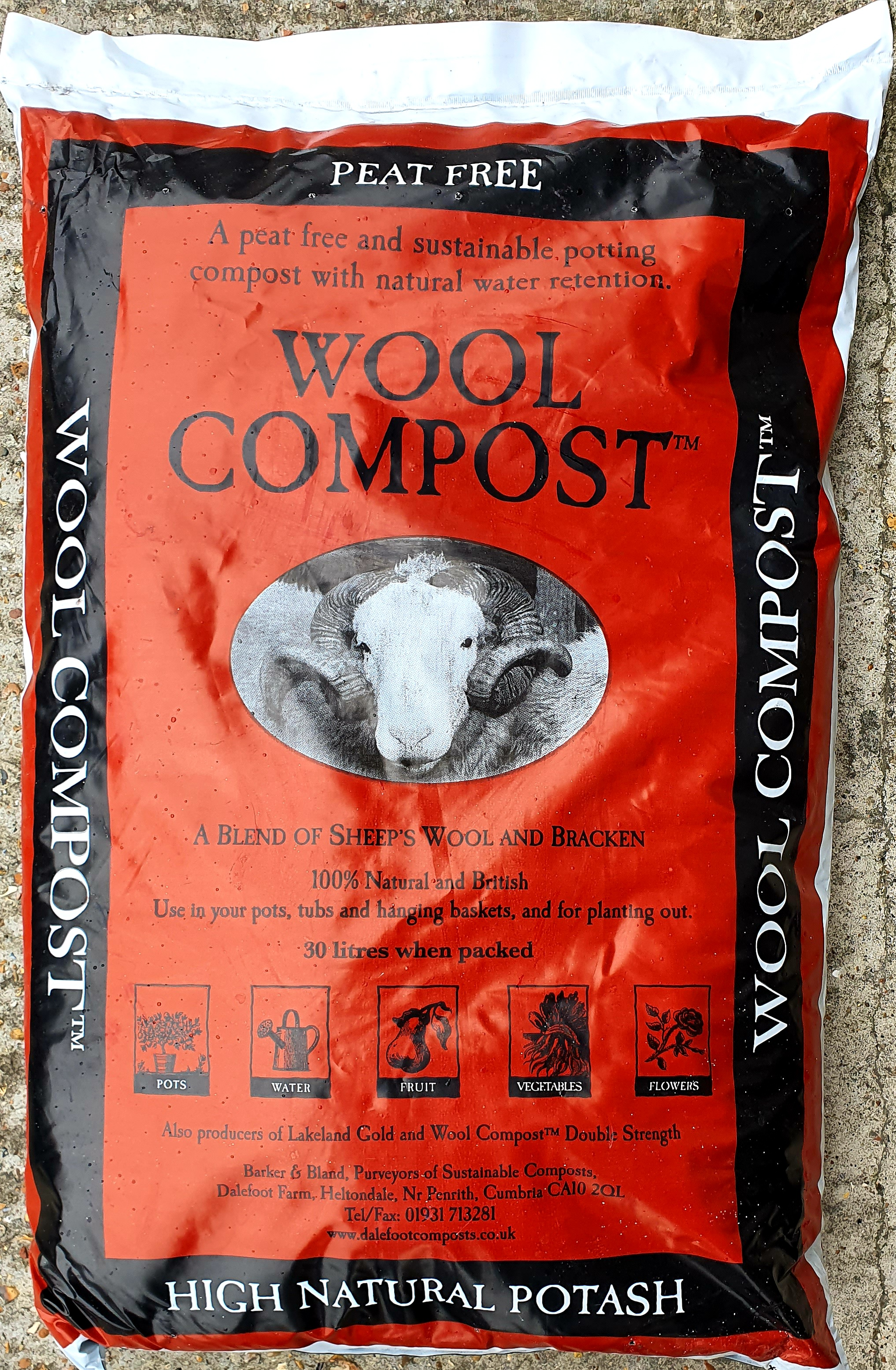 2 for £16 !! Dalefoot Organic Peat Free 30 litre General Compost Fruit/Veg/Flowers**Call Order Collect only**
