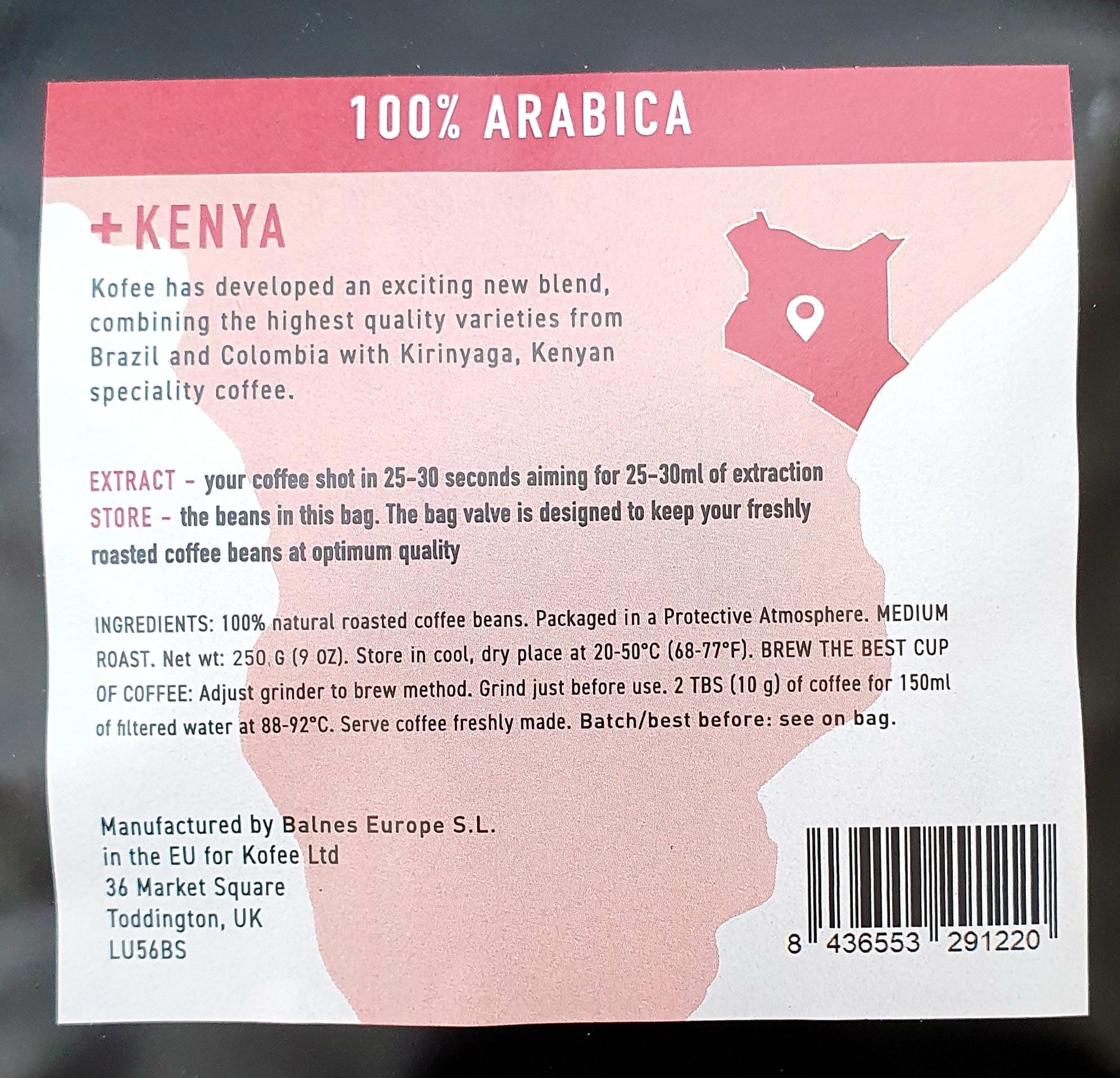 Kenya Medium Rare Kirinyaga 100% Arabica Coffee 250g - Rainforest Alliance