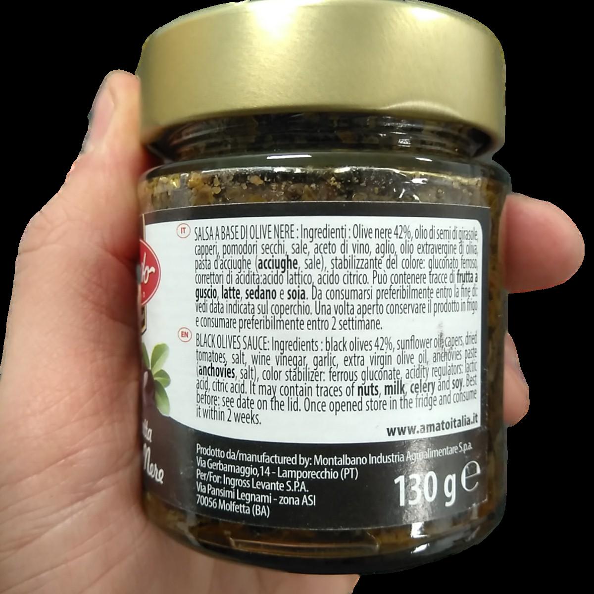 Amato 130g Bruschetta Toppings - Black Olive