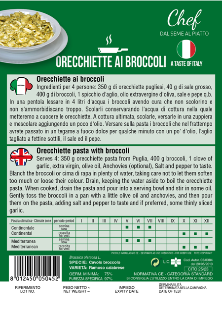 Linea Chef- Italy, Broccoli With Recipe For Orecchiette Pasta