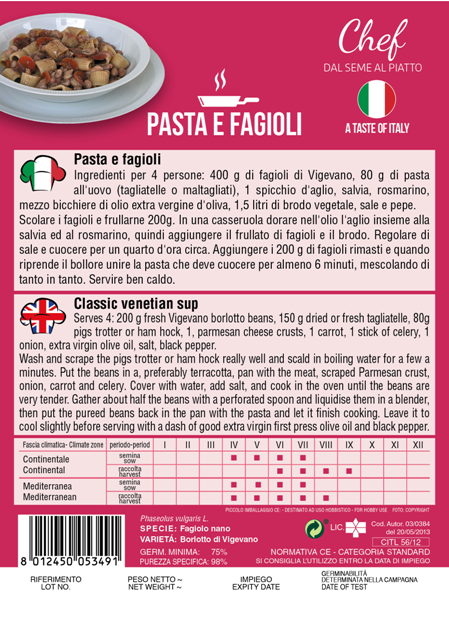 Linea Chef - Italy, Borlotto Bean With Recipe For Pasta E Fagioli (A)Phaseulus vulgaris L.