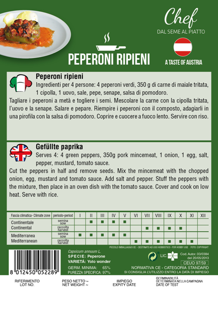 Linea Chef- Austria, Bell Pepper with Recipe For Gefulte Paprika