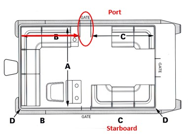 Measure pontoon boat from rear rail to side gate