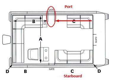 Measure pontoon boat from front rail to side gate