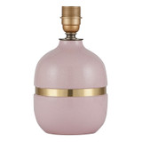 Blush Pink Ceramic Lamp with Gold Band for an Eclectic Glamour Decor