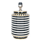 Tall Monochrome Table Lamp in Black and White Stripes