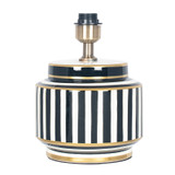 """Short Monochrome """"Humbug"""" Table Lamp in Black and White Stripes."""