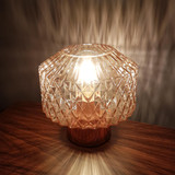 Diamond Smoky Glass Lamp with a Copper Base