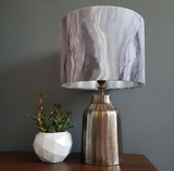 Waves Velvet Lampshade in Carbon Rockface.  By Prestigious Textiles and lined in Brushed Metallic Silver.