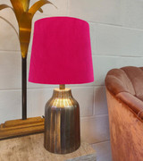 Cerise Pink French Drum Lampshade in Velvet and Choice of Lining