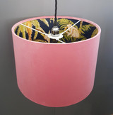 Pale Blush Pink Velvet Lampshade with Tropical Trees and Monkey Lining