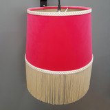 Cerise Pink Velvet Tapered Lampshade with Oyster Fringe and Champagne Lining