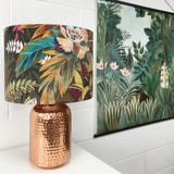 Lustre Velvet Lampshade in Hidden Paradise Tropical Fabric