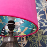 Cerise Pink Velvet Lampshade with Botanical Lemur Lining in Teal