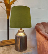 Olive Green Velvet Lampshade in a Tapered French Drum Design