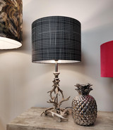 Dark Grey and White Lines Lampshade, Geometric with Silver Lining