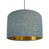 Duck egg blue and brushed gold lined lampshade - Linen Look