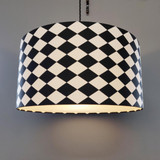 Black and White Chequered Fabric Lampshade