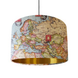 World Map Lampshade with Gold Lining