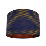 Navy Blue and Mustard Lampshade in a Moon Rabbit Cotton Fabric with Copper Lining