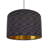 Navy Blue and Mustard Lampshade in a Moon Phases Fabric with Gold Lining