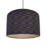 Navy Blue and Mustard Lampshade in a Moon Rabbit Cotton Fabric with Champagne Lining