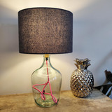 Textured  Blue Homespun Lampshade with White Lining
